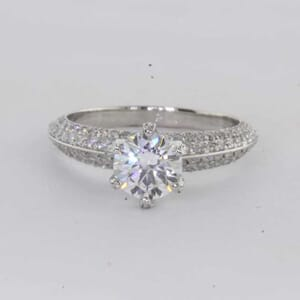 6427 - knife edge pave 6 prongs engagement ring
