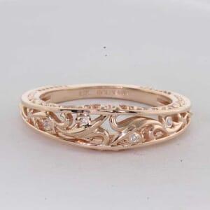 6455 - Art Deco Filigree Design Diamond Wedding Ring