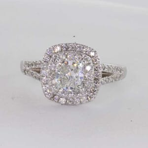 7173 - Double Halo With Side Diamonds Stunning Engagement Ring