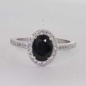 7237 - Oval Blue Sapphire Halo Engagement Ring