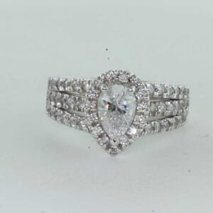 7238 - 3 Rows Split Halo Pear Shape Engagement Ring