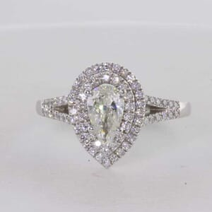7251 - Double Halo Split Band Pear Shape Engagement Ring