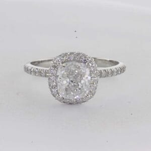 7255 - Cushion Cut Diamond Halo Engagement Ring