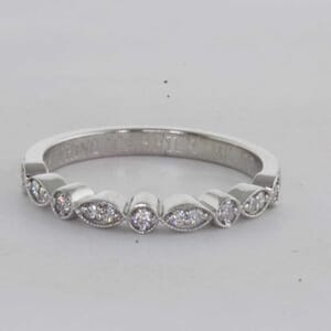 7270 - Milgrain Teap Drop and Round Shape Wedding Ring