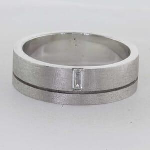 7277 - Mens Diamond Set Wedding Band 7mm - Burshed Finisih