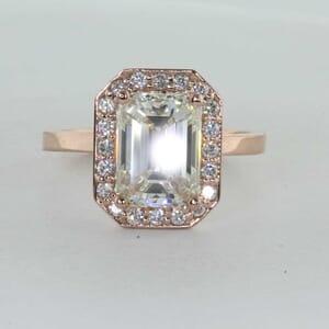 7279 - Emerald Cut Halo Diamond Engagement Ring