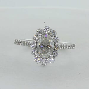 7293 - Vintage Halo Diamond Engagement Ring Shared Prongs