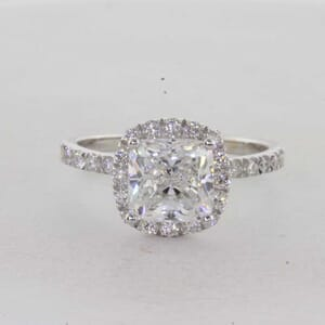 7299 - Halo Cushion Cut Diamond Ring