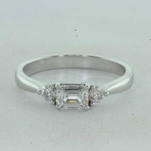 7324 - Horizontal Emerald cut Engagement Ring