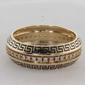 7334 - Greek Key Gold And Black Enamel Diamonds Ring