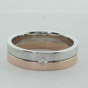 7344 - Two Tone Princess Cut Wedding Ring