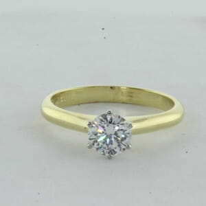 7426 - Two Tone 6 Prongs Solitaire Engagement Ring