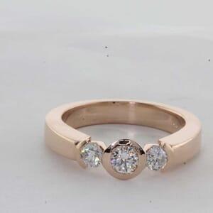 7431 - Three Stone Half Bezel Ring