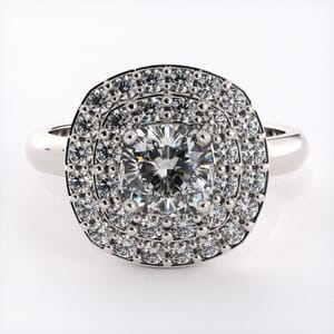 5482 - double halo engagement ring cushion cut