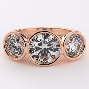 7457 - three stone bezel set diamond ring setting