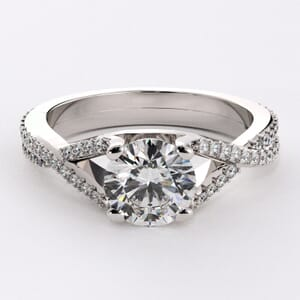 6396 - Twisted two rows diamond engagement ring