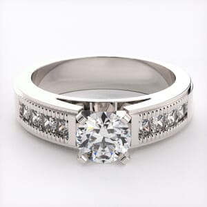 1077 -  Diamond Engagement Ring Set With Round Diamonds( 0.90 Ct. Tw.)
