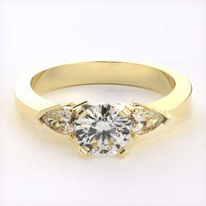 1123 - Three Stones Diamond Engagement Ring Set With Pear Diamonds (0.24 Ct. Tw)