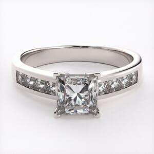 1482 - Diamond Engagement Ring Set With Princess Diamonds (0.55 Ct. Tw.)