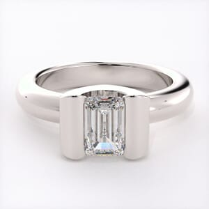 1532 - Contemporary Half Bezel Solitaire Engagement Ring