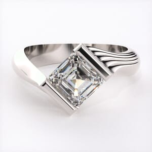 1552 - Twisted Half Bezel Set Engagement Ring