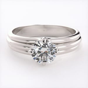 1557 - Modern Four Claw Solitaire Engagement Ring