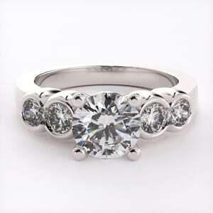 1627 - Bezel Set Engagement Ring With Side Stones