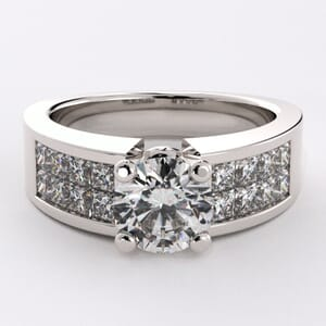 1652 - Bling Engagement Ring With Side Stones