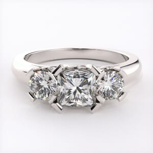 1672 - Modern Three Stone Diamond Ring