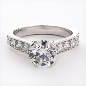 1717 - Impressive Engagement Ring With Side Stones