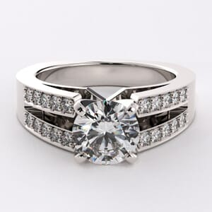 1727 - Twin Band Engagement Ring With Side Stones