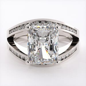 1747 - Twin Band Engagement Ring With Side Stones