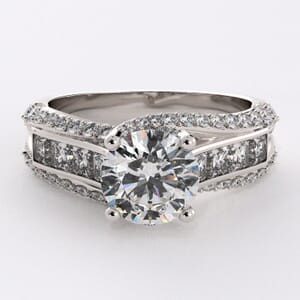 1772 - Triple Row Engagement Ring With Side Stones