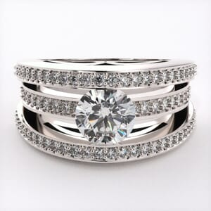 1792 - Triple Band Engagement Ring With Side Stones