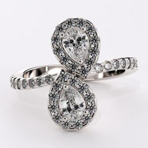 1812 - Pre-Set Twin Pear Diamond Engagement Ring With Side Stones
