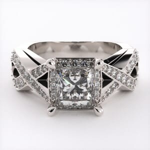 1842 - Twisting Engagement Ring With Side Stones