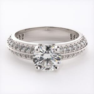 1847 - Double Row Engagement Ring With Side Stones