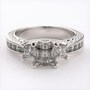 1852 - Patterned Three Stone Engagement Ring