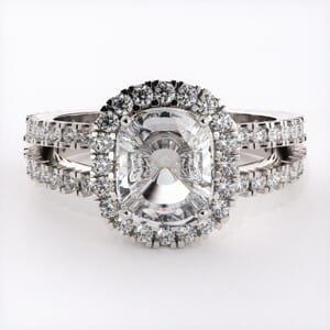 1862 - Twin Band Engagement Ring With Side Stones