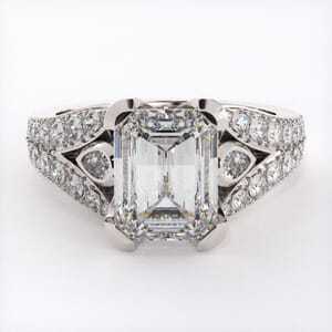 1882 - Modern Three Stone Engagement Ring With Side Stones