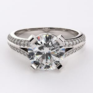 1887 - Twin Row Engagement Ring With Side Stones