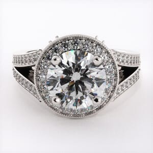 1892 - Double Row Engagement Ring With Side Stones