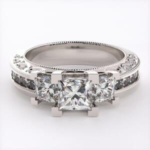 1897 - Three Stone Diamond Ring With Side Stones