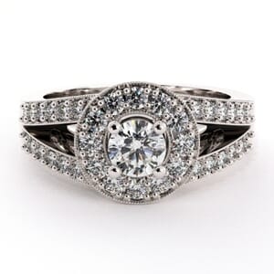 1902 - Double Row Engagement Ring With Side Stones