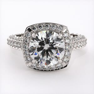 1907 - Diamond Encrusted Engagement Ring With Side Stones
