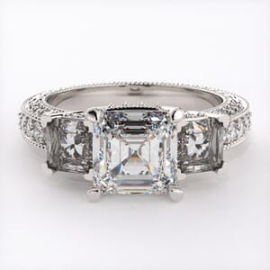 1912 - Diamond Encrusted Three Stone Diamond Ring With Sidestones
