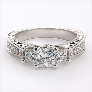 1917 - Detailed Three Stone Engagement Ring With Side Stones