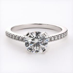 3132 - Cathedral Pave Diamond Engagement Ring
