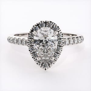3227 - Pear Shape Halo With Side Diamonds