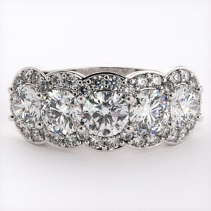 5171 - Five Stones Halo Diamond Ring